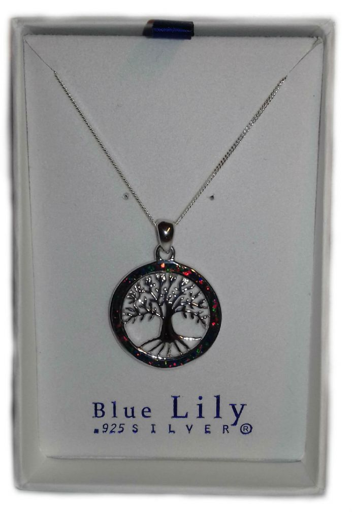 Tree of Life Synthesised Opal in a Sterling Silver Pendant with an 18 inch Chain